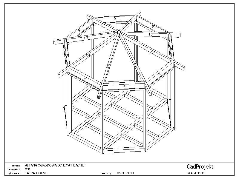 Altana Ogrodowa Ośmiokątna 001 Cadprojekt Projekty Konstrukcji